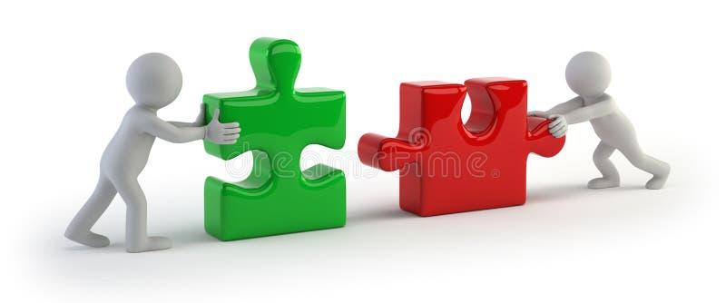 малые люди 3d - головоломка 2 соединяется иллюстрация штока