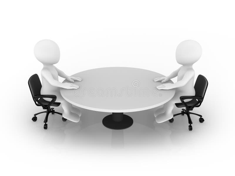 малые люди 3d сидя на круглом столе иллюстрация вектора