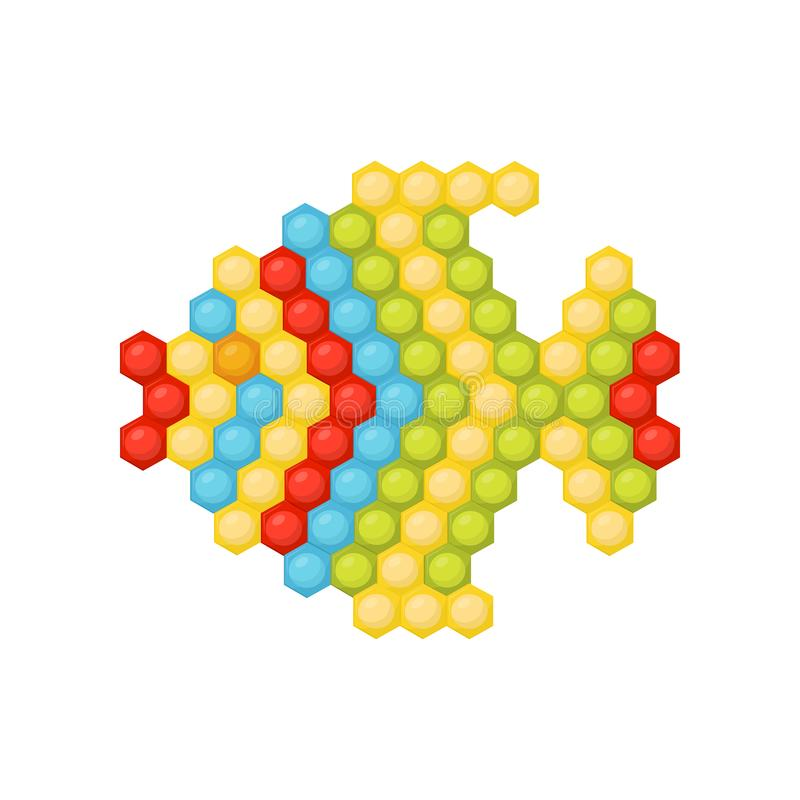 Малые рыбы сделанные пестротканой мозаики детей s озадачивают Игра потехи воспитательная для малышей Плоский дизайн вектора иллюстрация вектора