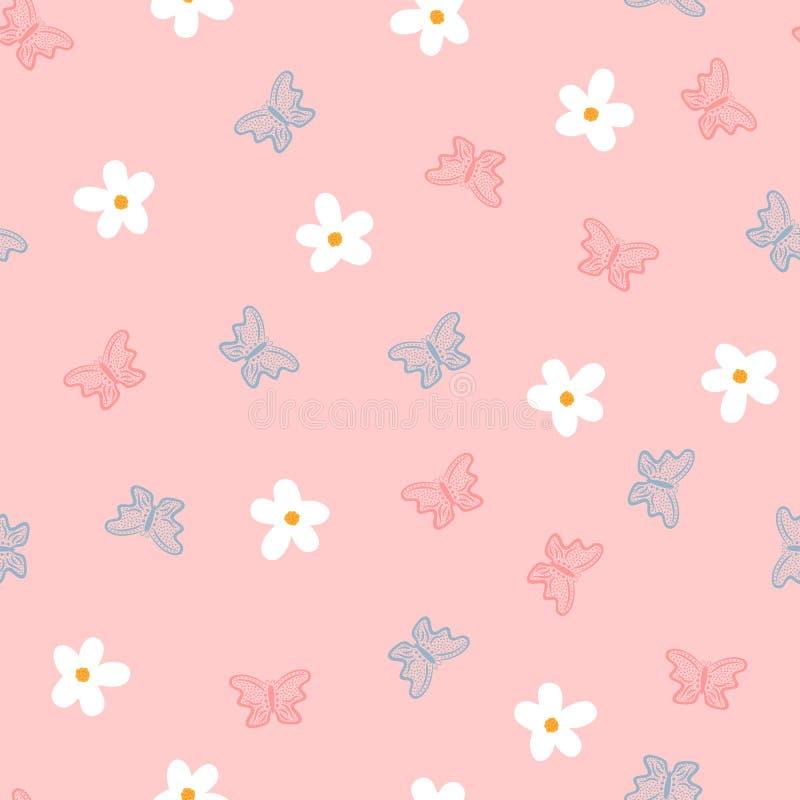 Малые цветки и бабочки нарисованные вручную Милая безшовная картина для детей иллюстрация вектора