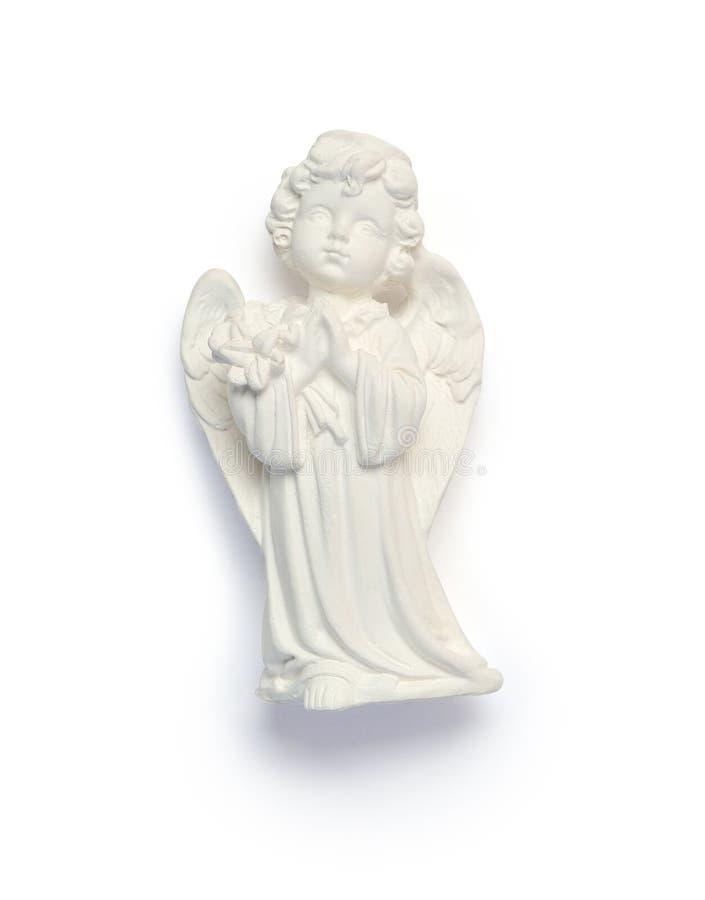 Малый ангел гипсолита Символ пасхи изолировал маску клиппирования на белой предпосылке с путем, взгляд сверху стоковые изображения