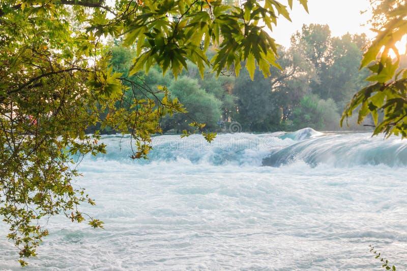 Малый водопад на реке загоренном по солнцу стоковое фото rf