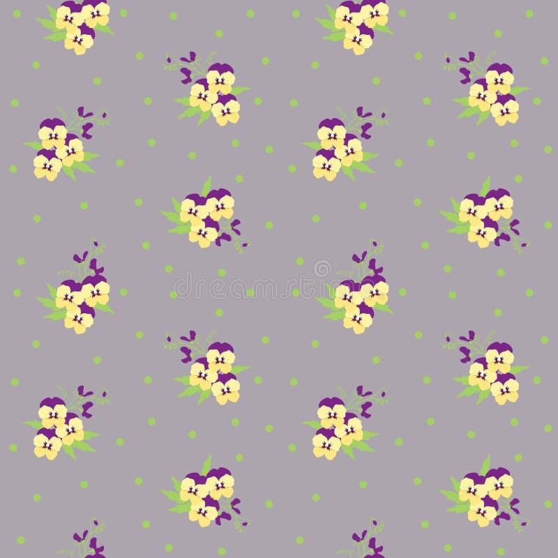 Малый крошечный желтый и фиолетовый pansy цветет букеты разбросанные на поставленную точки предпосылку Ditsy, безшовное свободы ф иллюстрация штока