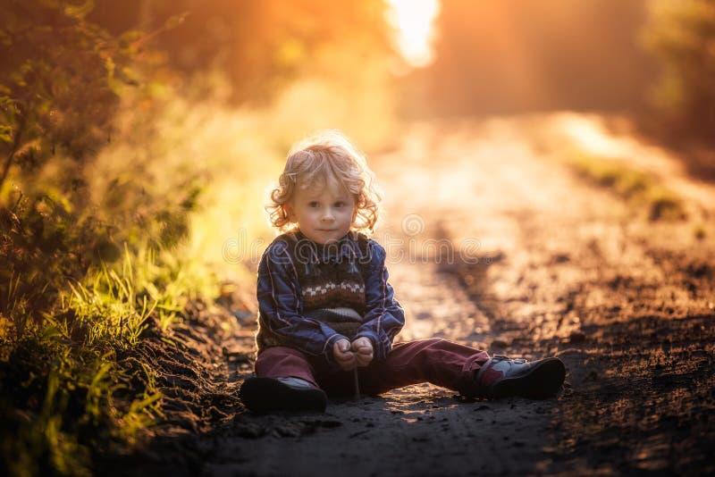 Малый мальчик играя в внешнем в осеннем свете стоковое фото rf