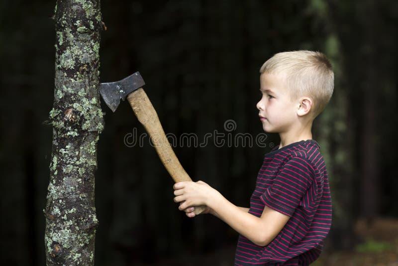 Малый мальчик с тяжелым старым железным козырем дерева вырезывания оси в лесе на летний день Мероприятия на свежем воздухе и рабо стоковая фотография rf