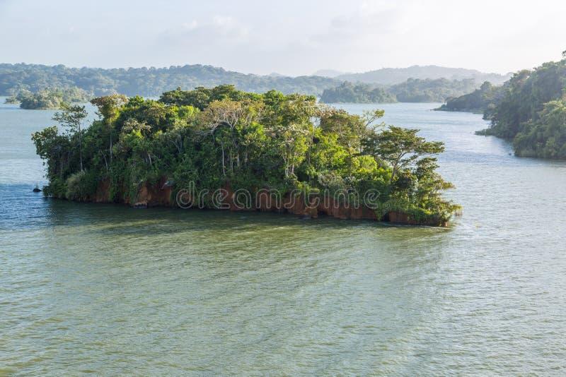 Малый остров с джунглями Панамского Канала стоковая фотография rf