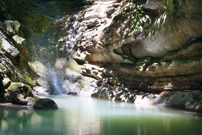 Малый поток озера горы воды подавая среди джунглей стоковые изображения rf