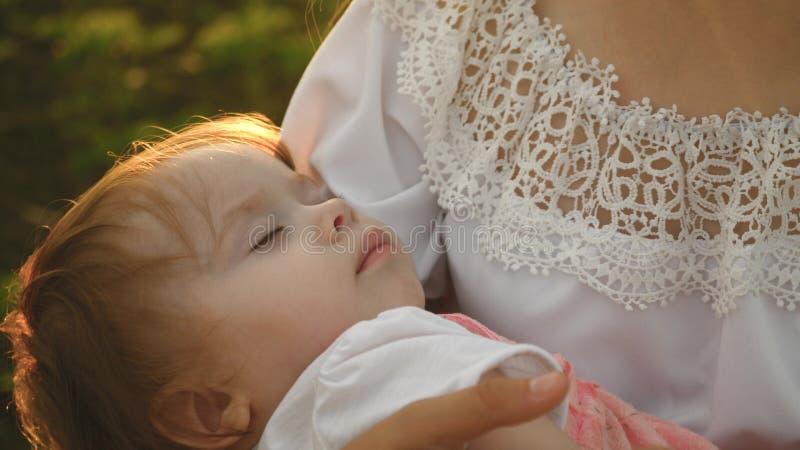 Малый ребенок падает уснувший в оружиях матери, матери и дочь идет в парк лета, замедление стоковые изображения