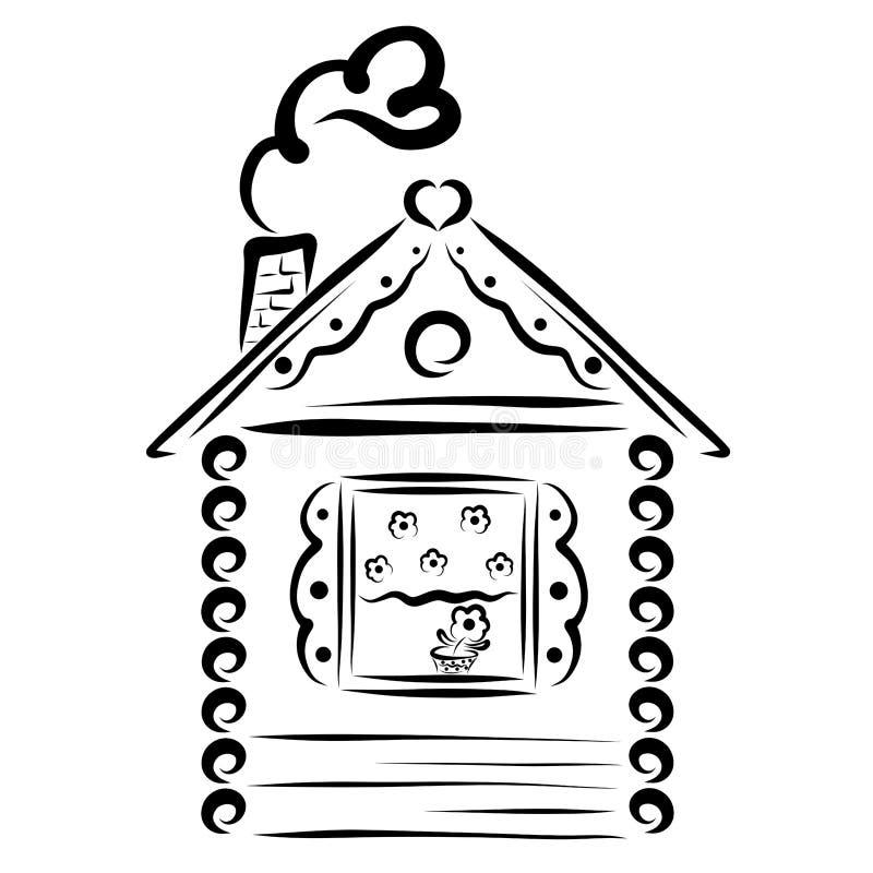 Малый уютный дом с цветком на windowsill и сердца иллюстрация штока