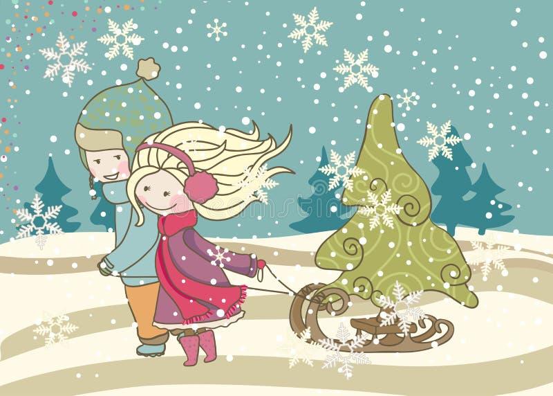 Малыши вытягивая скелетон с рождественской елкой иллюстрация вектора