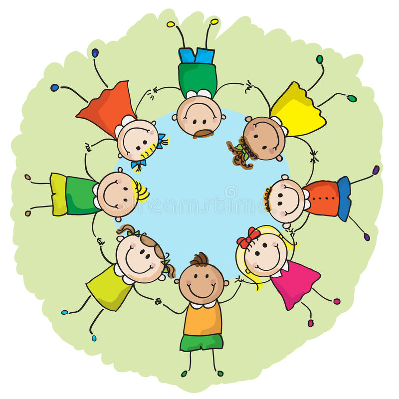 Малыши в круге бесплатная иллюстрация