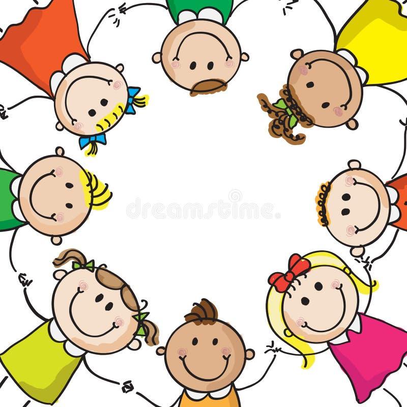 Малыши в круге иллюстрация вектора