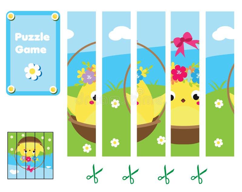 малыши головоломки Завершите изображение с милым цыпленком пасхи Воспитательная игра для детей бесплатная иллюстрация