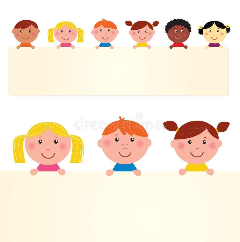 малыши знамени милые многокультурные иллюстрация штока