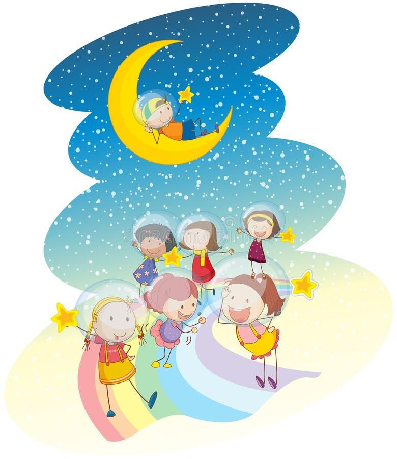 Малыши играя на радуге иллюстрация вектора