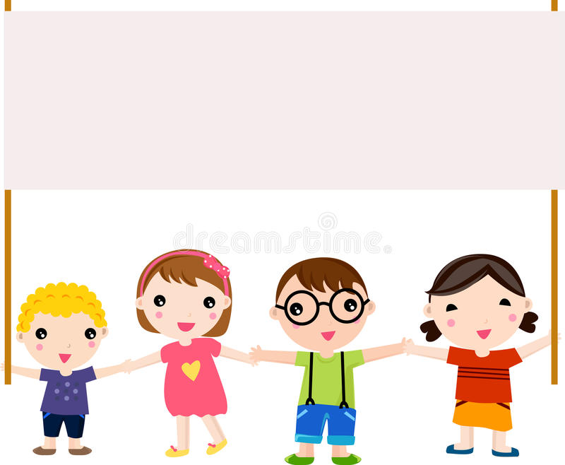 Малыши и знамя иллюстрация вектора