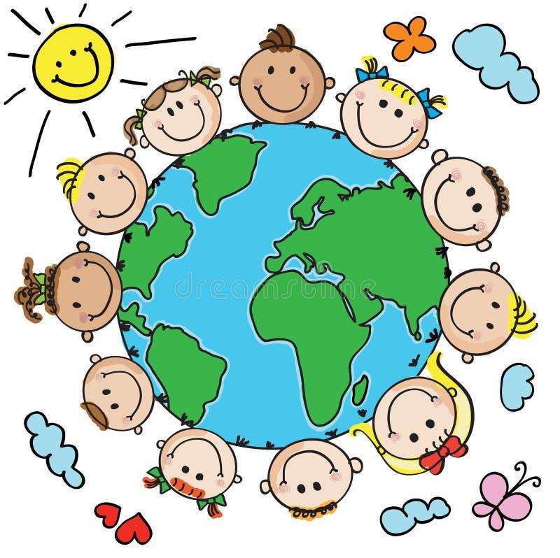 Малыши и планета бесплатная иллюстрация