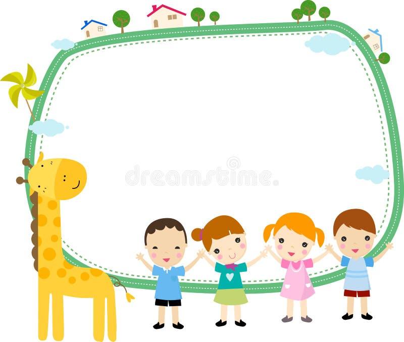 Малыши и рамка иллюстрация вектора