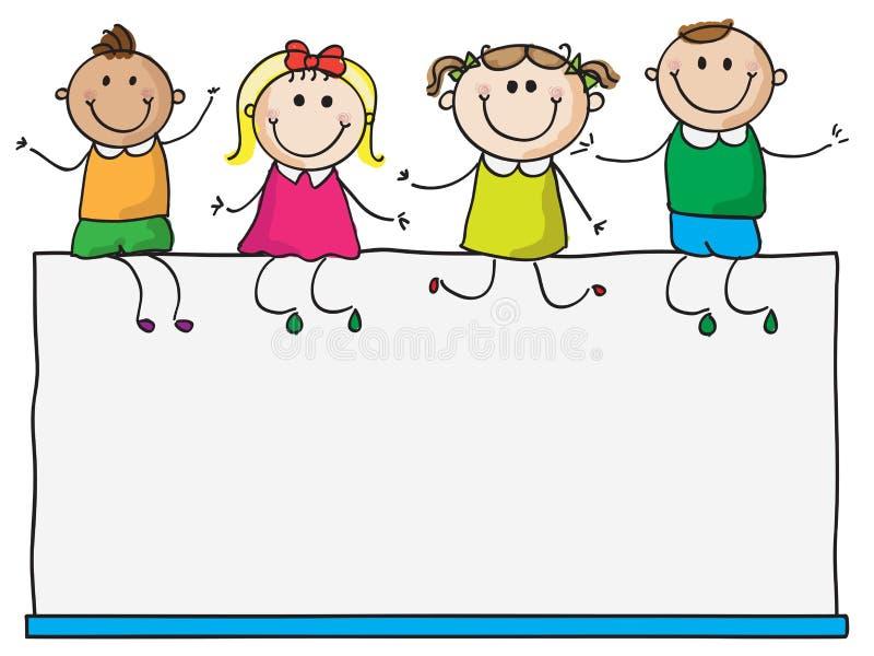 Малыши на пустом знаке бесплатная иллюстрация