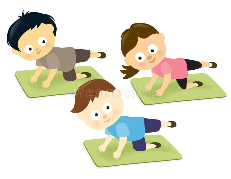 Малыши на циновках бесплатная иллюстрация