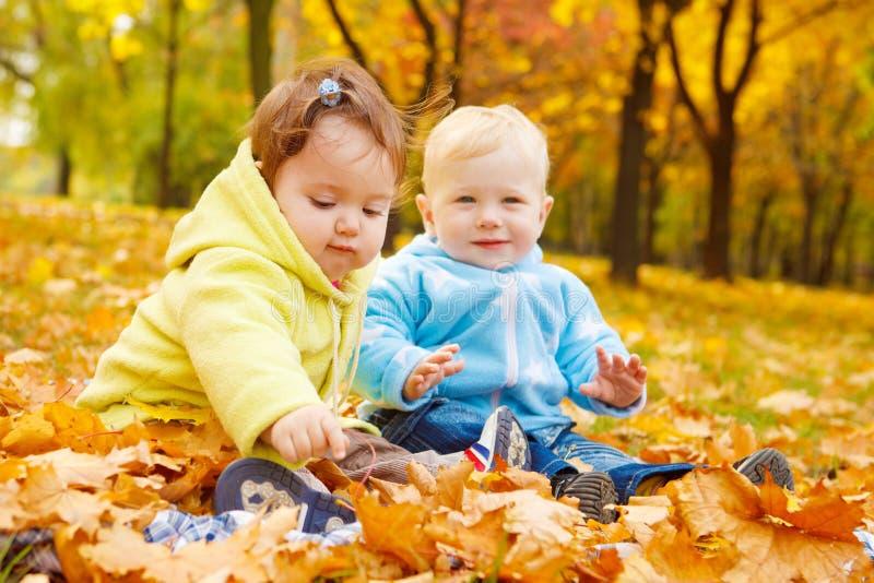 малыши осени стоковая фотография