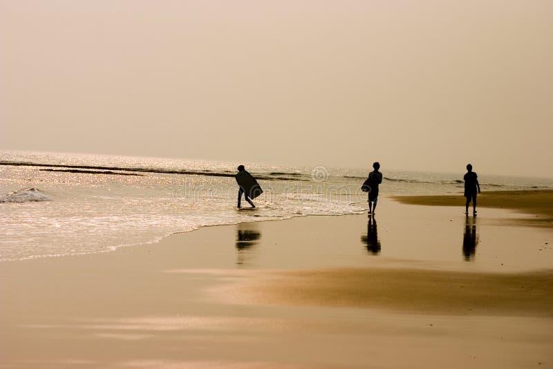 малыши пляжа sufring стоковые фотографии rf