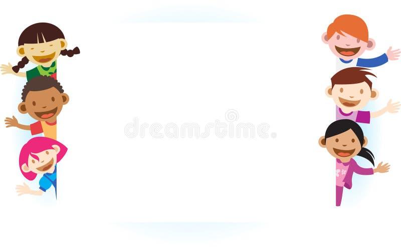 Малыши с пустым белым знаменем иллюстрация вектора