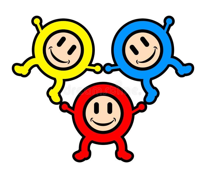 малыши цвета счастливые бесплатная иллюстрация