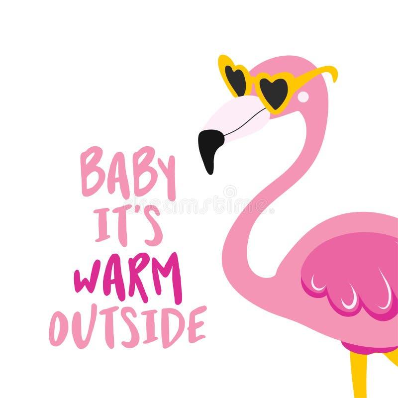 Малышка на улице тепло - Мотивативные цитаты иллюстрация вектора