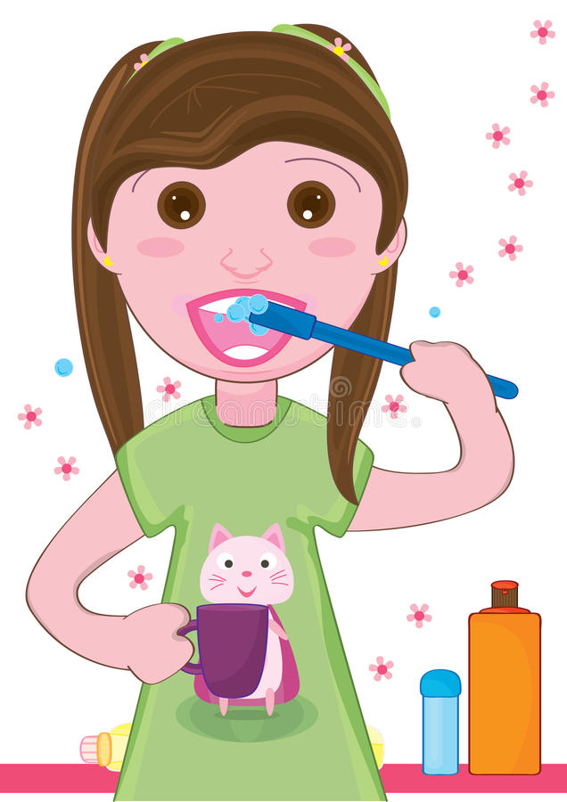 Малыш девушки чистя Teeth_eps щеткой иллюстрация вектора