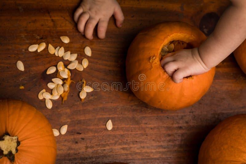 Малыш достигая в тыкву стоковое фото