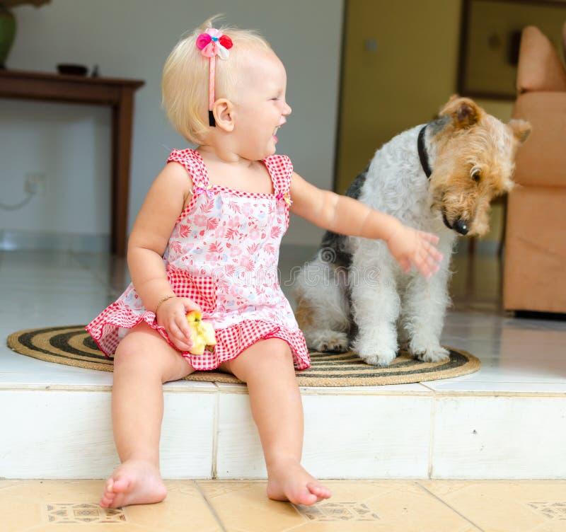 Малыш и собака Маленькая девочка и ее любимчик стоковое фото rf