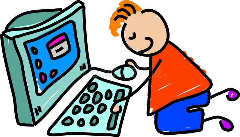 малыш компьютера иллюстрация штока