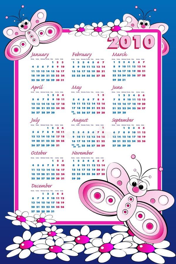 малыш 2010 календара бабочки иллюстрация вектора