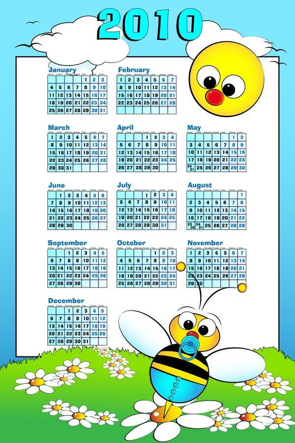 малыш 2010 календара пчелы младенца иллюстрация вектора