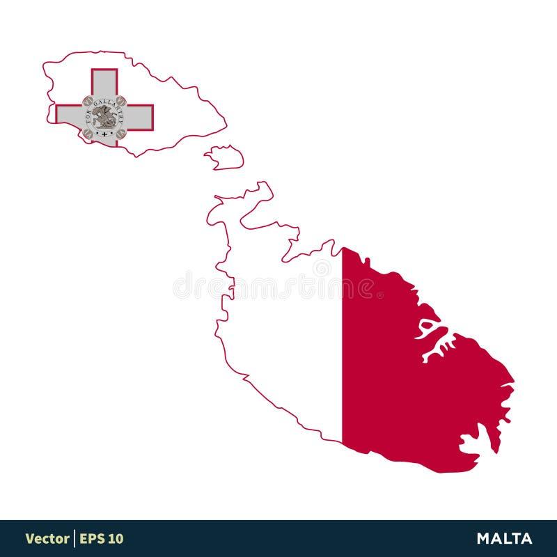 Мальта - страны Европы составляют карту и сигнализируют дизайн иллюстрации шаблона значка вектора r бесплатная иллюстрация