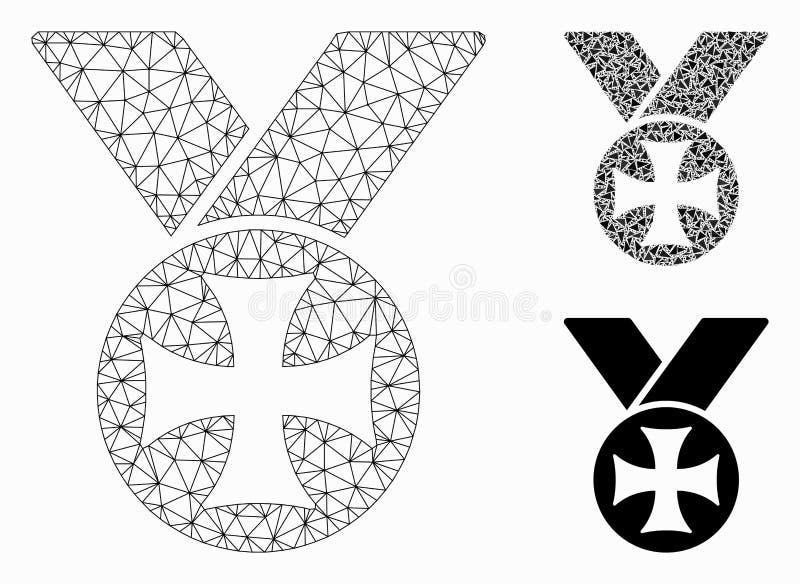 Мальтийский значок мозаики сетевой модели и треугольника ячеистой сети вектора медали бесплатная иллюстрация