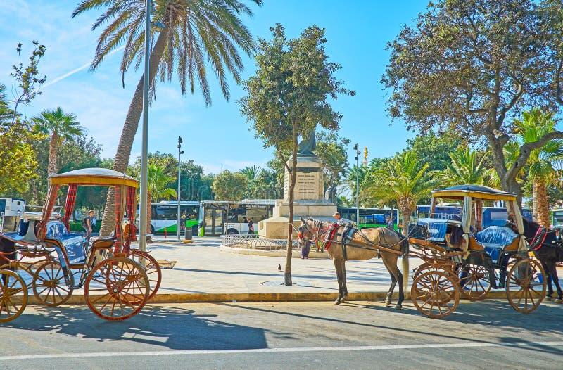 Мальтийским экипаж лошад-нарисованный karozzin, Floriana стоковые фотографии rf