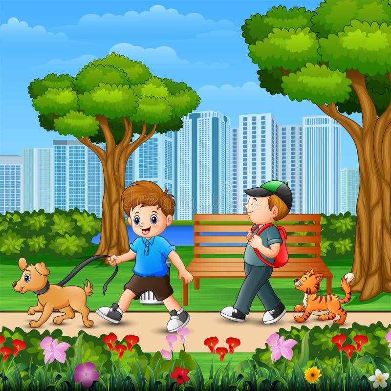 2 мальчика идя с их собакой в Park City иллюстрация штока