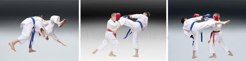 Мальчики в karategi бьют дуновения и тренировка бросает коллаж стоковые изображения