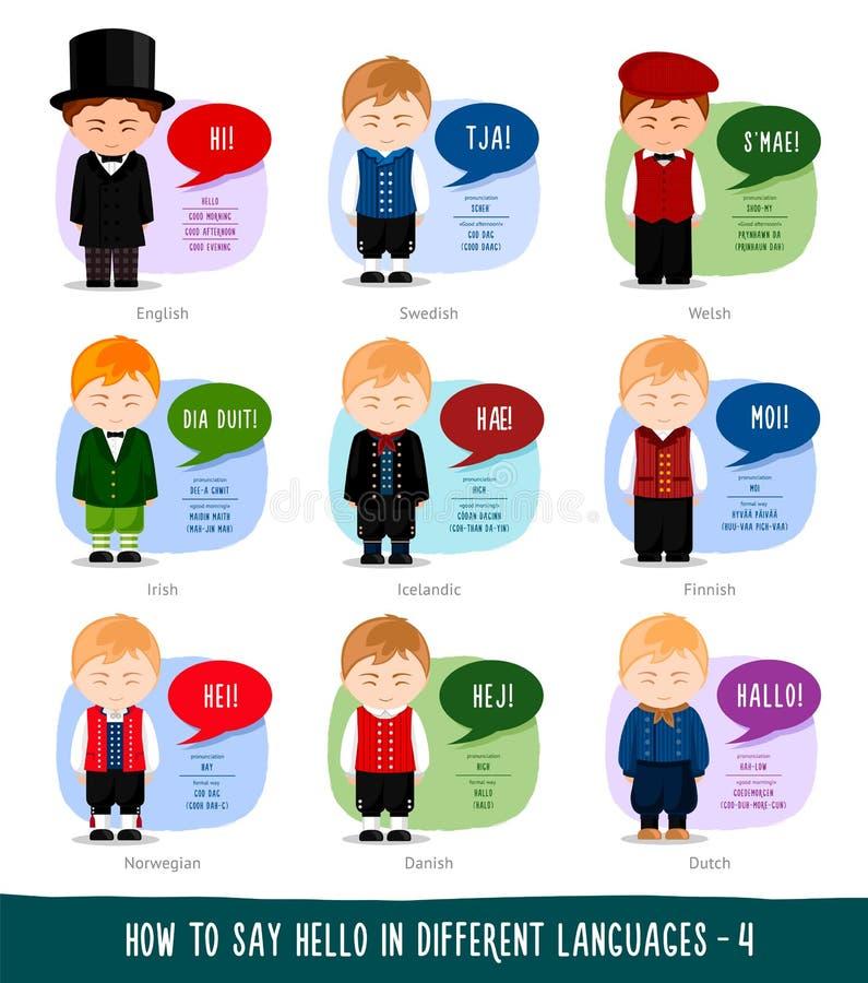 Мальчики говоря здравствуйте! в иностранных языках иллюстрация вектора