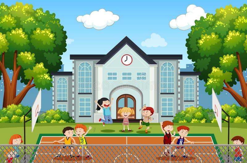 Мальчики играя баскетбол на суде бесплатная иллюстрация