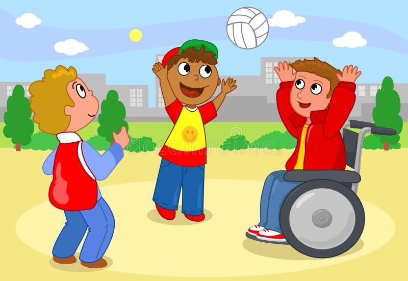 Мальчики играя с шариком иллюстрация вектора