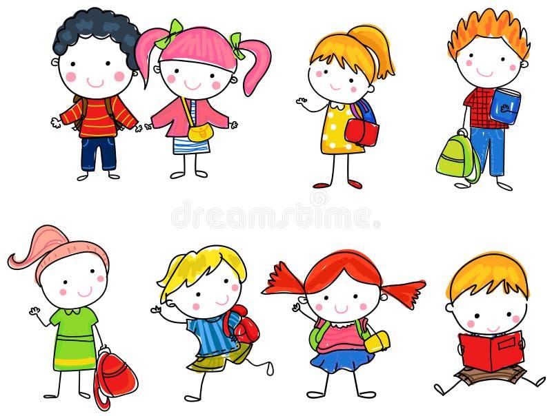 Мальчики и девушки зрачков иллюстрация штока