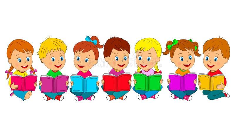 Мальчики и девушки сидят на поле с книгой бесплатная иллюстрация