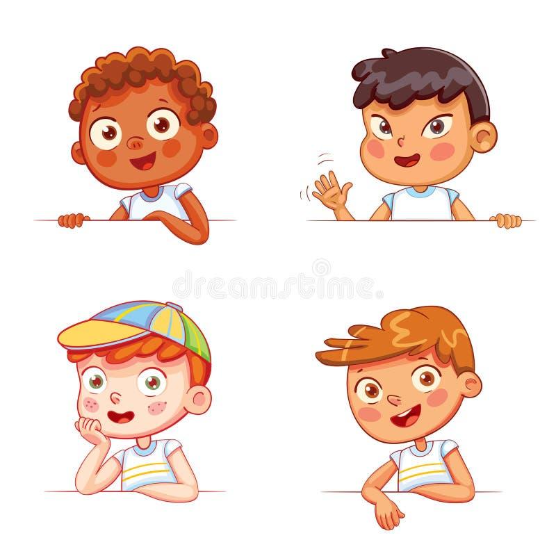 Мальчики различных национальностей держа пустую белую доску иллюстрация вектора