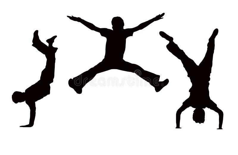 мальчики скачут иллюстрация вектора