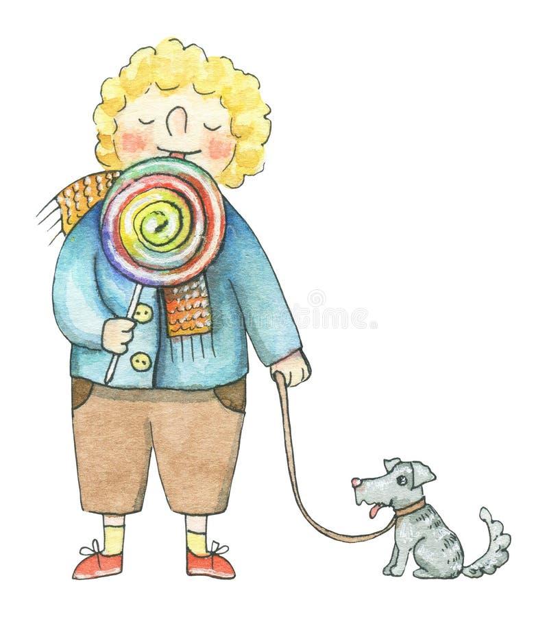 Мальчик акварели ест конфету и идет с собакой бесплатная иллюстрация