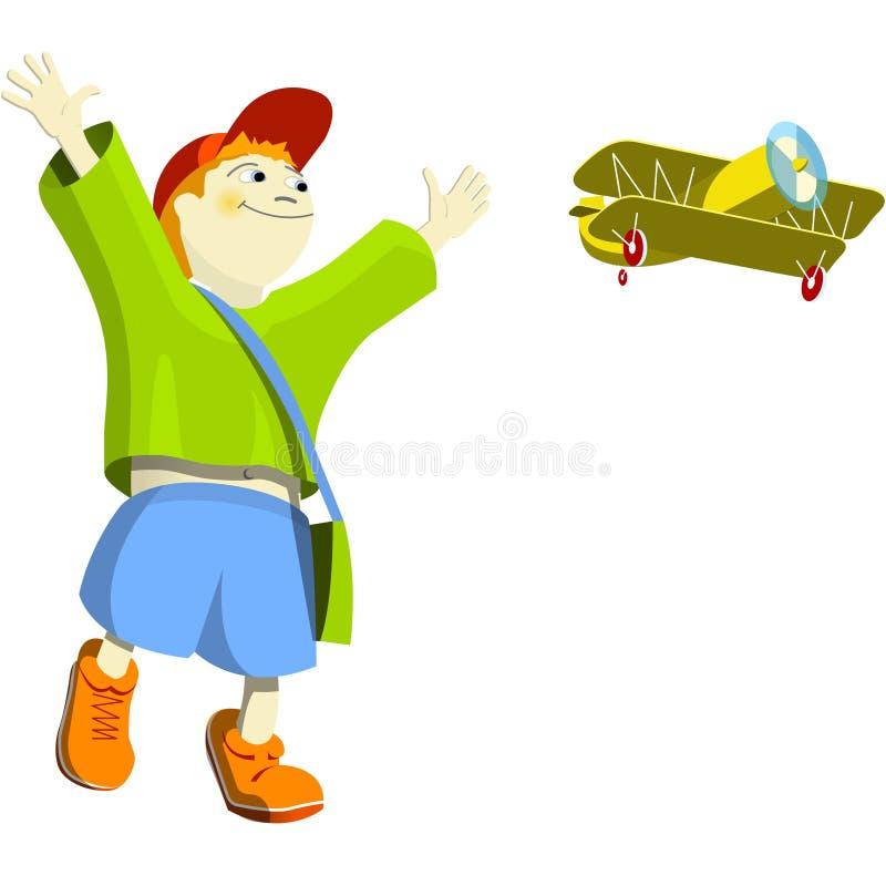 мальчик аэроплана иллюстрация вектора