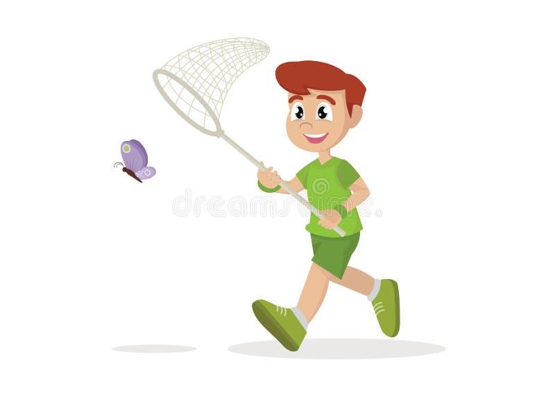 Мальчик бежит с бабочкой иллюстрация вектора
